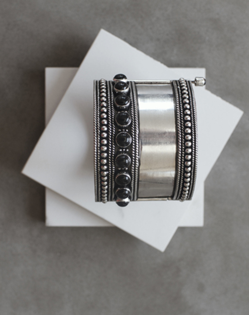 Kajal Oxidized Silver Cuff - buy clothes online of emerging designers