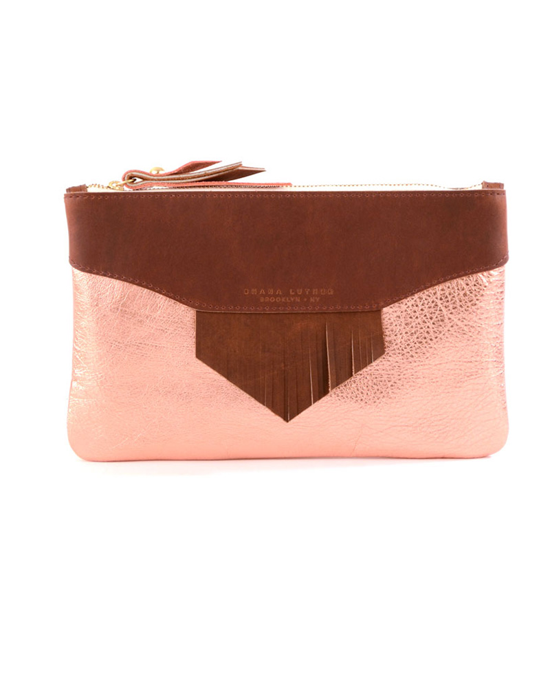 Lynn Clutch- Rust/copper - buy clothes online of emerging designers